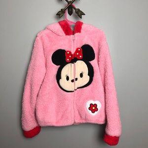 Disney Tsum Tsum Girls Pink Fuzzy Jacket Sz 6